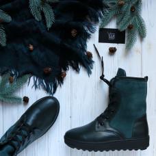 Ботинки из темно-зеленой кожи с замшевыми вставками 12-6(Ls6)