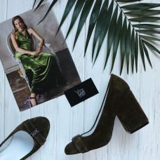 Туфли из замши цвета хаки с фурнитурой на устойчивом каблуке Арт. 95-1/49Ок-2549