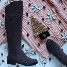 Сапоги-ботфорты из замши цвета какао 12-31V