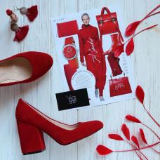 Туфли из красной замши на устойчивом каблуке Арт. 95-1/49Ок