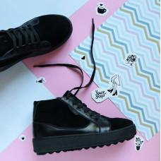 Ботинки из натуральной кожи и замши черного цвета 05-11(Ls6)