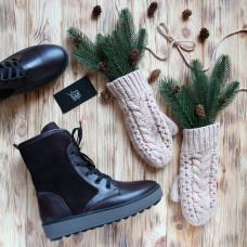 Ботинки из кожи цвета шоколад с замшевыми вставками 12-6(Ls6)