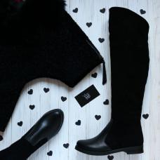 Сапоги-ботфорты из черной кожи и замши 12-31V