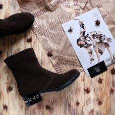 Полусапоги на каблуке из натуральной замши цвета шоколад Арт. 30-4(Ir5)