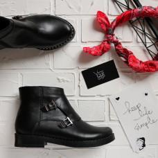 Ботинки-монки из черной кожи 12-26V(64)