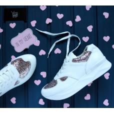 Кроссовки из белой кожи с блестящими вставками Арт. 15-2