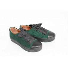 Кеды из зеленой замши с черными кожаными вставками Арт. 33-1/15RS