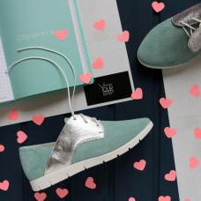 Туфли из замши бледно-бирюзового цвета с серебряными вставками Арт. 01-10Pr