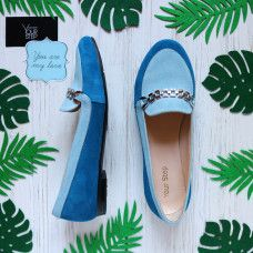 Мокасины из замши голубого цвета Арт. 05-4