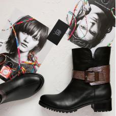 Ботинки из черной кожи со съемной пряжкой серебряного цвета Арт. 30-2