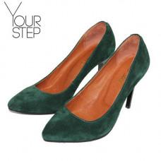 Туфли на шпильке из темно-зеленой замши Арт. 35-1