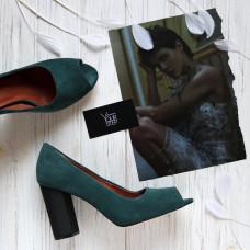 Туфли из натуральной замши цвета ель на устойчивом каблуке Арт. 95-4/42