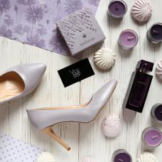 Туфли на шпильке из лиловой кожи с блестками Арт. 35-1