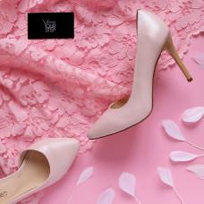 Туфли на шпильке из кожи цвета пудры с блестками Арт. 35-5