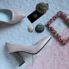 Туфли из кожи цвета пудры с блестками на серебряном каблуке Арт. 35-1/42 Serebro