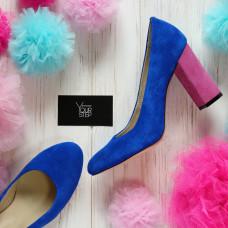 Туфли ярко-синего цвета с розовым каблуком Арт. 95-1/44Ок