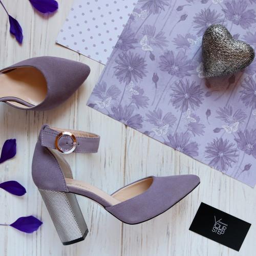 Босоножки из натуральной замши лилового цвета на серебряном каблуке Арт. 35-7/42Serebro
