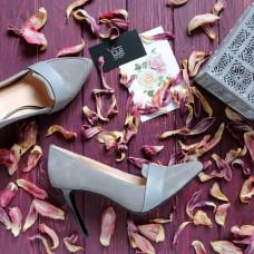 Туфли на шпильке из серой замши с кожаной вставкой Арт. 35-8Os