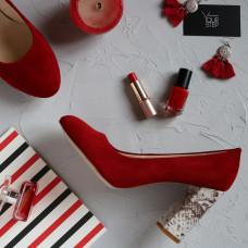 Туфли красного цвета с принтовым каблуком Арт. 95-1/44Ок