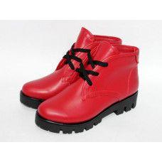 Ботинки на шнуровке из красной кожи на тракторной подошве Арт. 12-5(S2)
