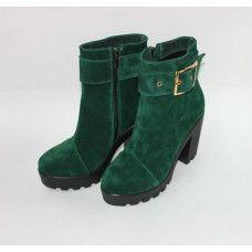 Ботинки из зеленой замши с ремешком Арт. 18-2
