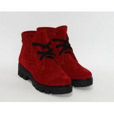 Ботинки на шнуровке из красной замши на тракторной подошве Арт. 12-5(S2)
