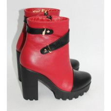 Ботинки красно-черного цвета на каблуке Арт. 52-2К