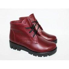 Ботинки на шнуровке бордового цвета на тракторной подошве Арт. 12-5(S2)
