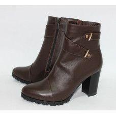 Ботинки из кожи цвета шоколад с декоративными ремешками Арт. 52-2