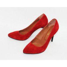 Туфли на шпильке из красной замши Арт. 35-1