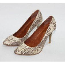 Туфли на шпильке из кожи коричнево-золотого цвета под питона Арт. 35-1